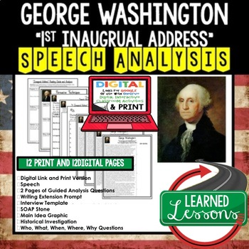 George Washington's First Inaugural Address Speech Analysis and Writing Activity