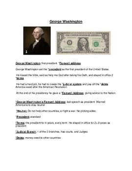 George Washington's Presidency and activities