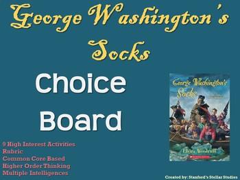 George Washington's Socks Choice Board Novel Study Activities Menu Project
