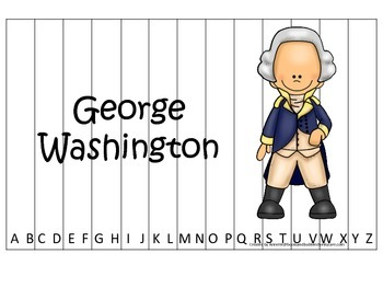 George Washington themed Alphabet Sequence Puzzle.  Preschool learning game.