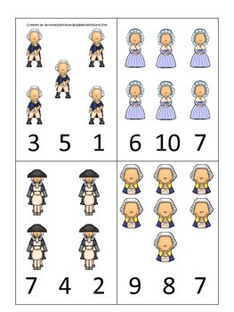 George Washington themed Count and Clip Cards.  Preschool learning game.