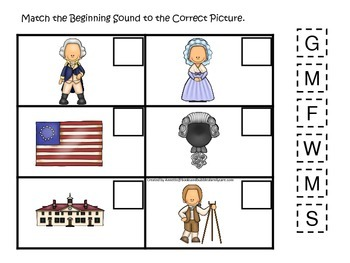 George Washington themed Match the Beginning Sound.  Preschool learning game.