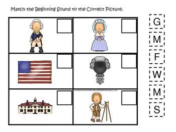 George Washington themed Match the Beginning Sound.  Preschool learning game.