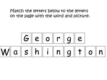 George Washington themed Match the Letters preschool learning activity.