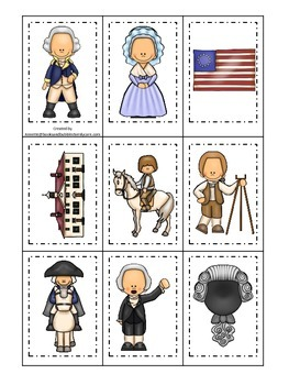 George Washington themed Memory Matching Cards.  Preschool learning game.