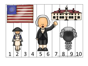 George Washington themed Number Sequence Puzzle 1-10.  Preschool learning game.
