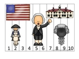 George Washington themed Number Sequence Puzzle 1-10.  Pre