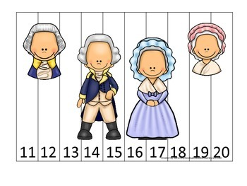 George Washington themed Number Sequence Puzzle 11-20.  Preschool learning game.