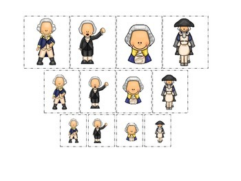 George Washington themed Size Sorting preschool learning activity.