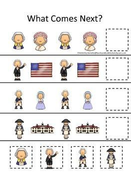 George Washington themed What Comes Next preschool learning activity.
