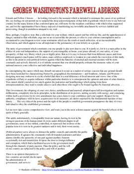 image about George Washington Printable Worksheets titled George Washingtons Farewell Go over Investigate Worksheet