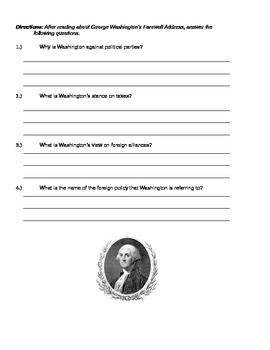 George Washington's Farewell Address Handout