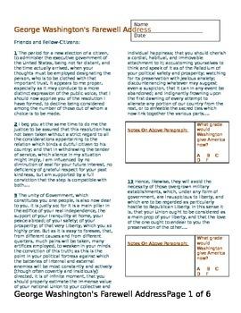 George Washington's Farewell Address-analysis evaluation primary source