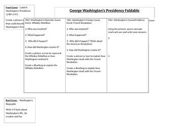 George Washington's Presidency Foldable