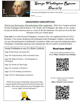 george washington s resume for the presidency tpt