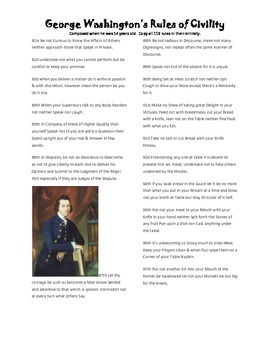 George Washington's Rules of Civility-Behavior Aid