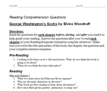 George Washington's Socks Reading Comprehension Questions