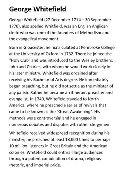George Whitefield Handout