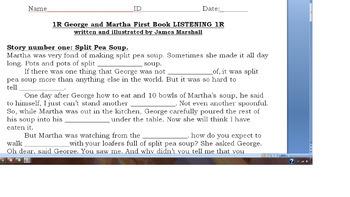 George and Martha – LISTENING & QUESTIONS - Decker ESL Book Study 2nd Grade