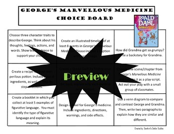 George's Marvellous Medicine Choice Board Novel Study Activities Menu Project