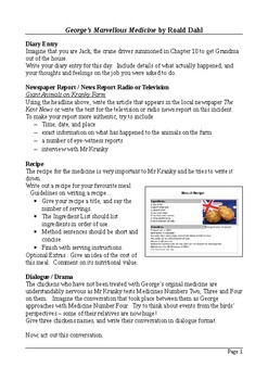 George's Marvellous Medicine - Creative and Functional Writing Assignments