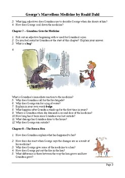 George's Marvellous Medicine - Reading Questions with Answers