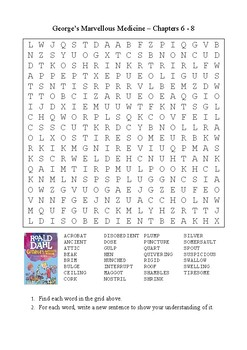 George's Marvellous Medicine - Word Search Chapters 6 - 8
