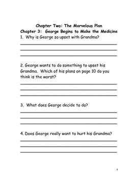 George's Marvelous Medicine Roald Dahl Reading Comprehension Packet