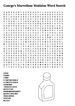 George's Marvellous Medicine Word Search