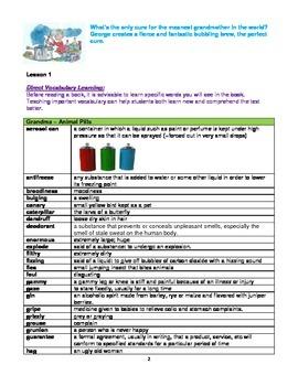 George's Marvelous Medicine  Novel Study Assessment Pack
