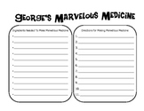 George's Marvelous Medicine by Roald Dahl Activity and Book Test