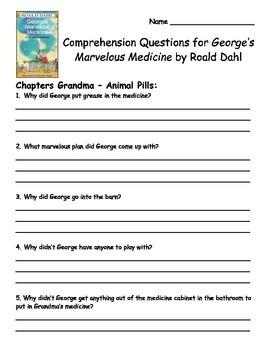 George's Marvelous Medicine by Roald Dahl Comprehension Packet