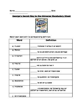George's Secret Key to the Universe Vocabulary Sheet