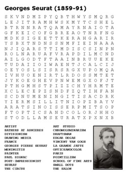 Georges Seurat Word Search