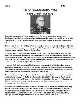 Georgi Zhukov  Biography Article and (3) Assignments