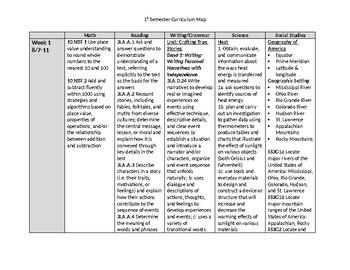 Georgia 3rd Grade Curriculum Map - 1st Semester