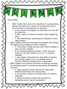 Georgia 3rd Grade Science Standards List