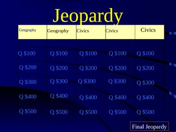 Georgia 3rd grade Social Studies Jeopardy CRCT Review