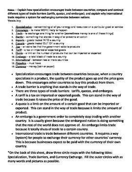Georgia 7th Grade Social Studies SS7E2, E6, E9 MODIFIED Fill-in-the-Blank Notes