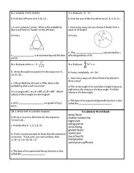 Georgia Accelerated Math 1 Targets Set 12