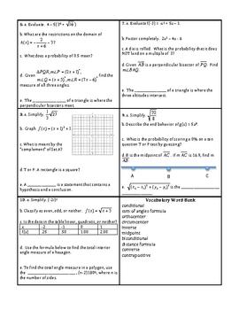 Georgia Accelerated Math 1 Targets Set 5