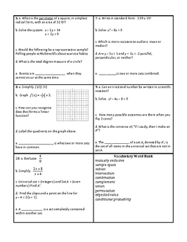 Georgia Accelerated Math 1 Targets Set 6