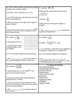 Georgia Accelerated Math 1 Targets Set 9