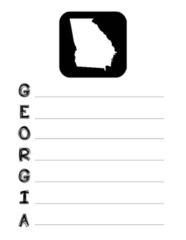 Georgia State Acrostic Poem Template, Project, Activity, Worksheet