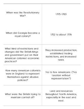 Georgia American Revolution Quizlet Flashcards by School