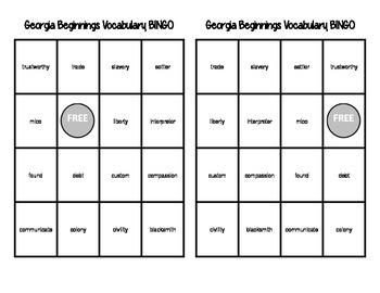 Georgia Beginnings Vocabulary BINGO