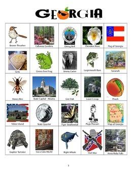 Georgia Bingo:  State Symbols and Popular Sites