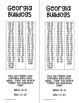 Georgia Bulldogs (Coordinate Graphing Activity)