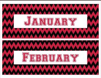 Georgia Bulldogs Inspired Red and Black Chevron Calendar Pieces-Editable