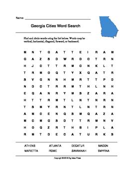 Georgia Cities Word Search (Grades 3-5)